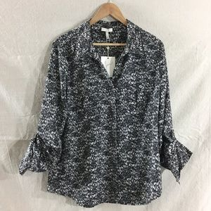 NWT Joie Booker Abstract Print Shirt in Caviar - L